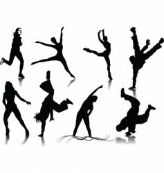 fitness women silhouettes vector image vector image