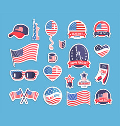 Flag day of the usa themed souvenirs collection vector