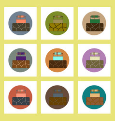 Flat icons set of cracked earth and well concept vector