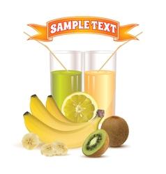 Glasses with juice lemon bananas and kiwi vector