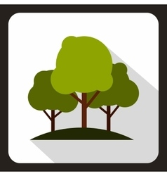 Green trees icon flat style vector image vector image