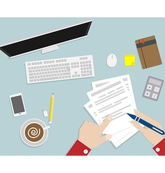 hand writing paper on workspace vector image