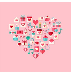 Heart shaped valentine day flat style icons with vector