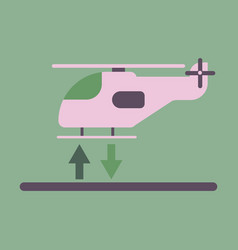 icon in flat design helicopter lands vector image