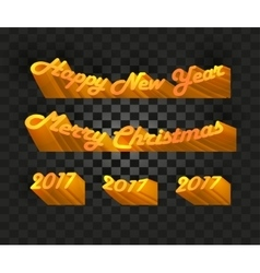 Merry christmas and happy new year 2017 writing on vector