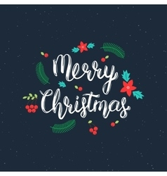 Merry Christmas handwritten inscription with vector image