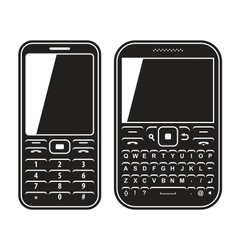 Modern mobile set phone with QWERTY keyboard Black vector image vector image