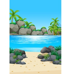 Ocean scene with island and beach vector image vector image