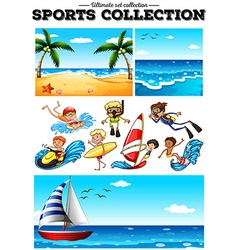 People doing water sports and beach scences vector image vector image
