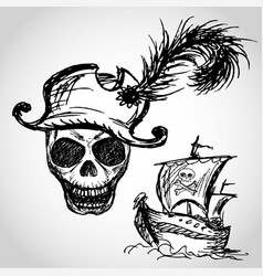 Pirate skull with hat and pirate ship vector