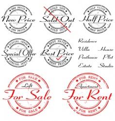 Sale rent special offer stamp set vector