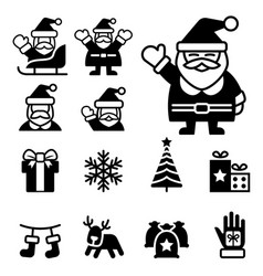 santa claus christmas icons vector image vector image