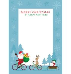 Santa Claus Reindeer Snowman Cycling Bicycles vector image vector image