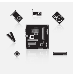 Set of computer components vector