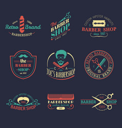 set of vintage hipster barbershop logos vector image