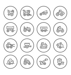 set round line icons of agricultural machinery vector image