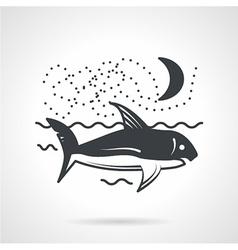 Swimming shark black icon vector