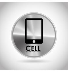 tech silver button vector image