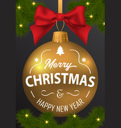 the inscription of merry christmas and a happy new vector image vector image