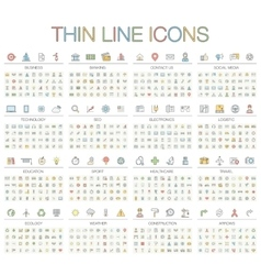Thin line color icons vector