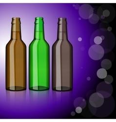 Three bottles of beer Refreshment vector image vector image
