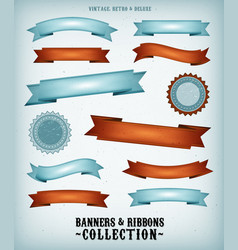 Vintage banners and ribbons set vector