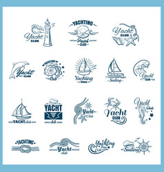 yachting badges set vector image vector image