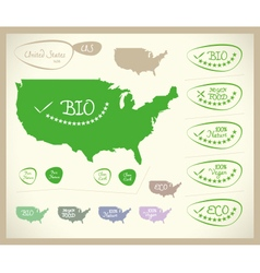 Bio map usa united states of america vector