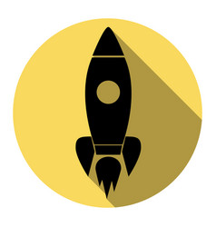Rocket sign   flat black icon vector