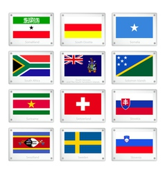 Set of countries flags on metal texture plates vector