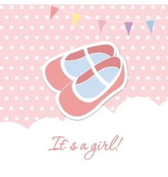 Baby girl shower card with small boots on seamless vector