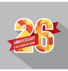 26th years anniversary celebration design vector