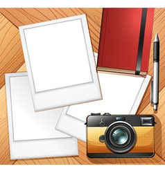 Camera and photo frames vector image