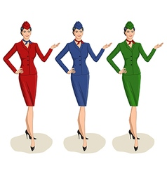 Set of 3 stewardesses dressed in uniform with vector