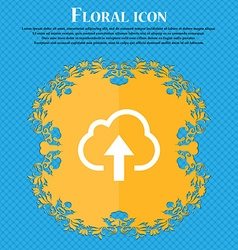Upload from cloud floral flat design on a blue vector