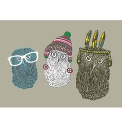 Set of three doodle owls vector