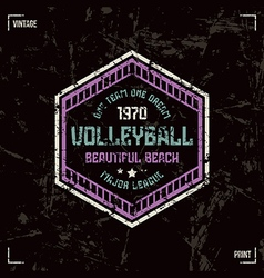 Volleyball team hexagonal badge vector