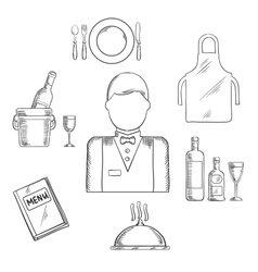 Waiter profession and restaurant catlery sketch vector image