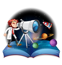 Scientist looking at the telescope vector image