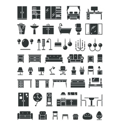 Home furniture icons vector