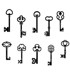 Old and vintage keys set vector image