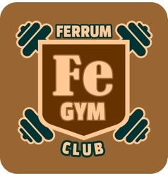 Shield with ferrum gym text and dumbbells vector