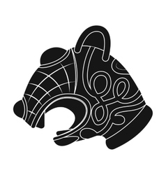 Animal head of viking s ship icon in black style vector