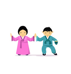 Asian man and woman wearing traditional clothes vector