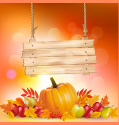 autumn background with leaves and wooden sign vector image vector image
