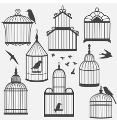 Bird cages silhouette vector image