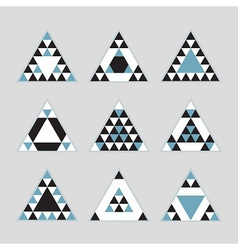 black and blue geometric tribal triangle icons set vector image vector image