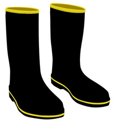 Black rubber boots vector image vector image