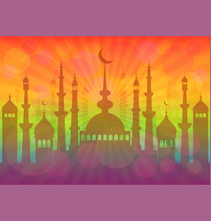Card for greeting with islam feasts vector