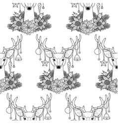 christmas deer outline seamless pattern vector image vector image